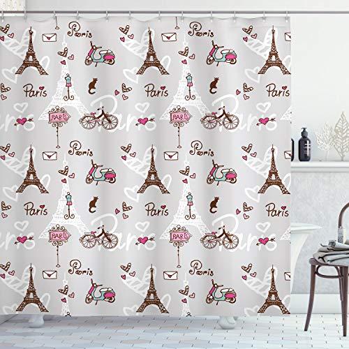 Paris Decor cortina de ducha Set por Ambesonne, Vespa, bicicleta, maniquí, de la torre Eiffel y corazones, baño accesorios, 69W x 70L)