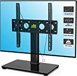 Universal TV Stand Base Tabletop TV Stand for 26 to 55 Inch TVs -Height Adjustable TV Base Stand with Tempered Glass Base & Wire Management & Security Wire, Holds up to 88lbs, VESA 400x400mm(Max)