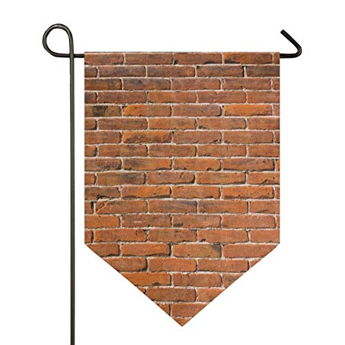 FANTAZIO Fantasio Rote Ziegelmauer, Garten-Flaggen, Premium-Qualität, für Hof, Urlaub und Saisonal, dekorative Flaggen – doppelseitig, Polyester, 1, 12x18.5in