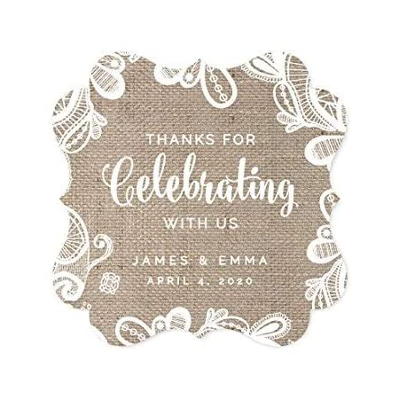 Amazon Com Andaz Press Burlap Lace Wedding Collection Personalized Fancy Frame Gift Tags Thank You For Celebrating With Us 24 Pack Custom Name Health Personal Care