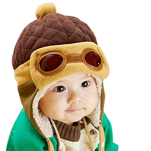 Kafeimali Baby Boys Girls Crochet Earflap Winter Warm Caps Beanie Pilot Aviator Cartoon Hats (Brown)