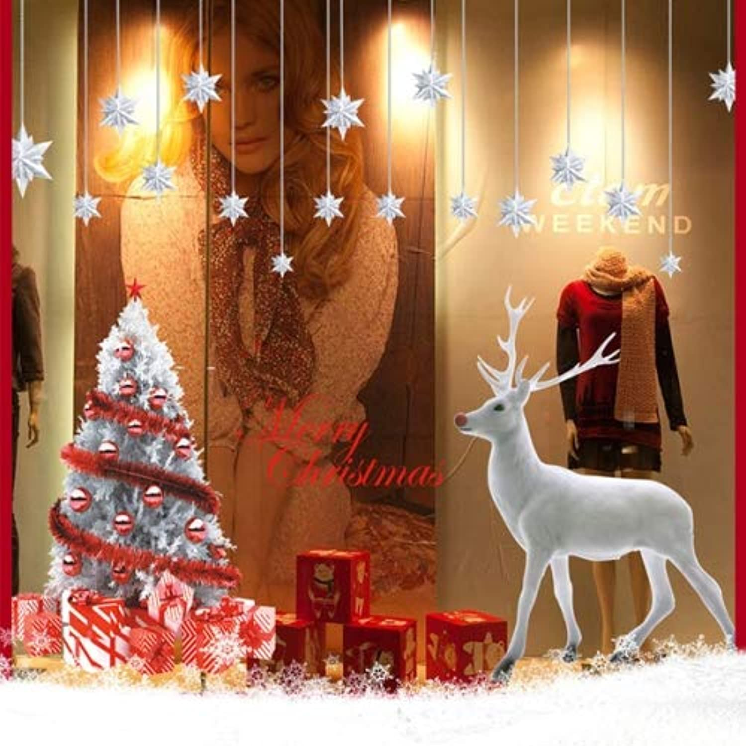 Christmas Snowman Snowflake Elk Stores Showcase Glass Removable Stickers Festival Wall Stickers Decoration, Size  60 x 90 x 2cm