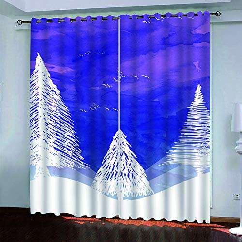 3D Sunset Digital Printing Curtains Modern Simple Living Room Bedroom Blackout Curtains Polyester Waterproof Fabric Vertical Curtains (2 Pieces)
