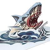 PaperCrush® - Biglietto pop-up con squalo, 3D per ragazzi, adolescenti o uomini, speciale biglietto di auguri per compleanno del papà, migliore amico