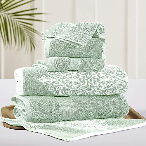 Amrapur Overseas | Artesia Damask 6 Piece Reversible Yarn Dyed Jacquard Towel Set (Sage), 13' x 13'