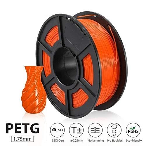 Exceptionnel 3D Imprimante Filament 1.75mm 1KG 2.2lbs Spool Support matériel defferent Imprimante 3D Recharge Couleur 3д ручка для рисования dureté (Color : Orange PETG)
