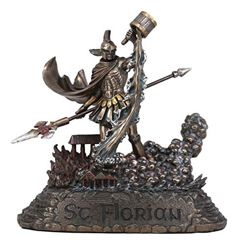 Ebros Large Saint Florian Pouring Water Over Burning Building Statue 10.25' Tall Patron of Fire Fighters Angelic Roman Warrior Martyr of God Catholic Home Altar Decor Figurine