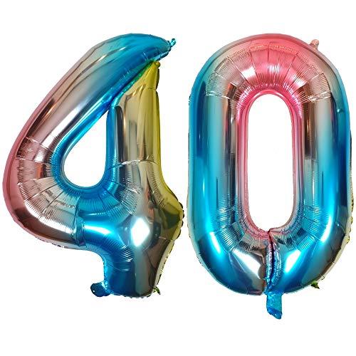 DIWULI, Globos de número XL, número 40, Globos de Color Azul Iridiscente Arco Iris, Globos de número, Globos de Papel de Aluminio número años, 40 cumpleaños, Fiesta, decoración