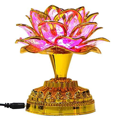 Buddha Lotus Light Colorful LED Lotus Lamp Lotus Light LED Lotus Buddhist Lamp Buddhism Faith Supply Buddhism Prayer Accessories