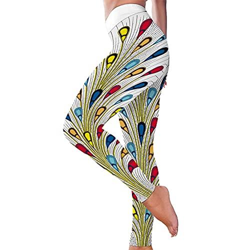 KJCWQ Leggings Deportivo para Mujer Estampado De Patrón De Color Europeo Y Americano Apretado Glúteos De Cintura Alta Deportes Yoga Corriendo Pantalones De Fitness-White_XXXL