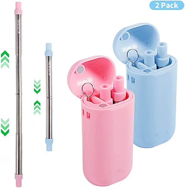 Collapsible Metal Straws With Case Reusable Drinking Straw Composed Of Stainless Steel And Food Grade Silicone Portable Set With Hard Case Holder And Cleaning Brush 2 Pack Pink Blue