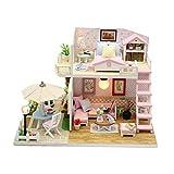 Aparador de Maquillaje de Espejo de Glamour de niñ DIY House Attic with Pink Hood Villa Juguetes de Madera creativos Mano Modelo Un Regalo de cumpleaños Casa de muñecas de Madera con