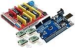 TECNOIOT 【3D Printer Kit】 CNC Shield V3.0 + Development Board + 4pcs Stepper Motor Controller A4988 with Heat Sink for 3D Printer
