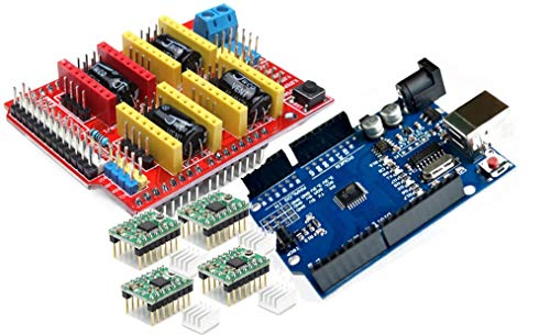 TECNOIOT 【3D Printer Kit】 CNC Shield V3.0 + Development Board + 4pcs Stepper Motor Controller A4988 with Heat Sink for 3D Printer