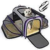 OMORC - Bolsa de transporte para gato o perro, extensible, estructura sólida, fácil de almacenar, red transpirable, espaciosa, plegable, para viaje en trineo, coche, restaurante, avión aprobado