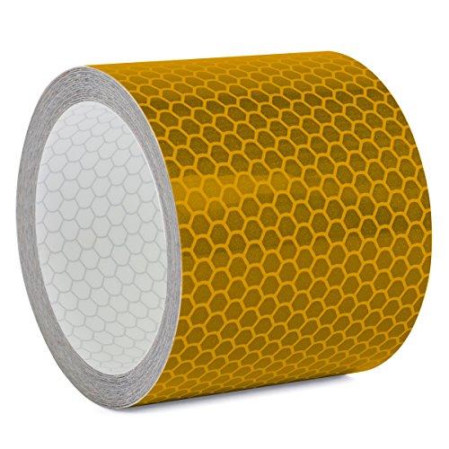 Motoking Reflektorband mit Wabenmuster für mehr Schutz & Sicherheit in der Dunkelheit - Länge und Farbe wählbar - 10m Meter lang, 5cm breit - Gelb