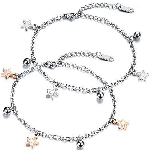 JewelryWe Schmuck 2pcs Damen Armband Fußkette, Pentagramm Stern Glöckchen Charm Fußkettchen, Edelstahl, Silber Rose Gold