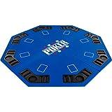 Maxstore Plateau de Poker Pliable Fullhouse pour jusqu'à 8 Joueurs de Poker octogonal, Dimensions?: 120 x 120 cm, Panneau MDF, 8 Porte-gobelet, 8 Chip Moyenne, Bleu
