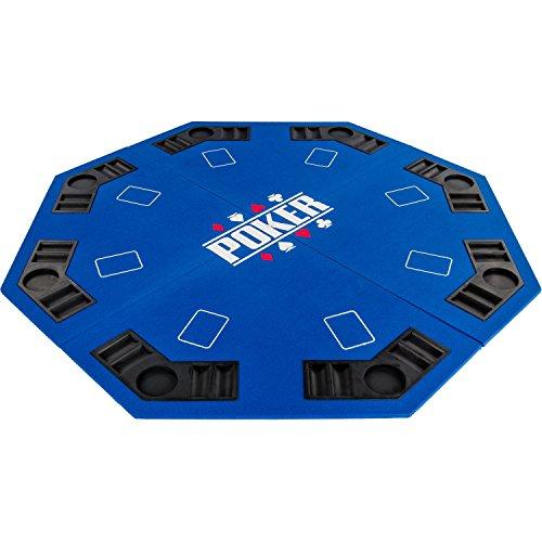 """Maxstore Faltbare Pokerauflage """"Full House"""" für bis zu 8 Spieler, achteckig, Maße 120x120 cm, MDF Platte, 8 Getränkehalter, 8 Chiptrays, blau"""