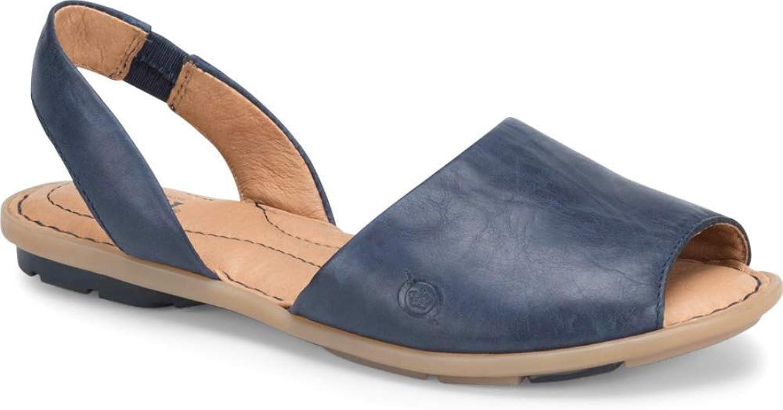 Born Frauen Frauen Trang Peep Toe leger Leder Flache Sandalen  Marke kaufen