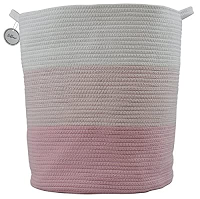 """Cotton Rope Basket for Storage and Organization in Baby Nursery or Kids Room 