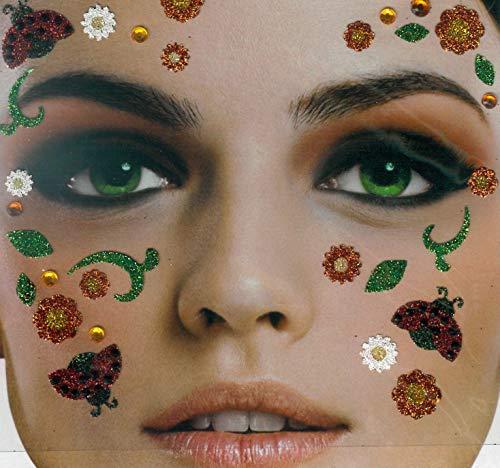 Brandsseller Gesichts-Tattoo Marienkäfer - Aufkleber Set Klebetattoos Temporäre Tattoos Halloween/Karneval Bunt