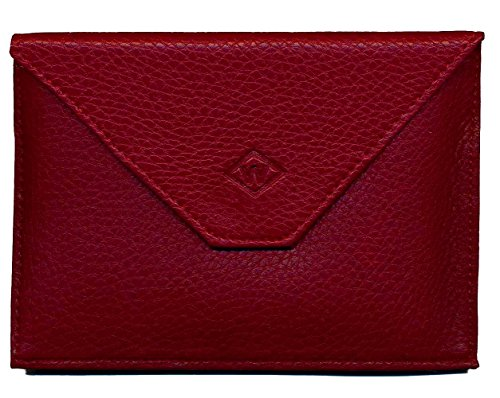 Astuccio porta tessere, con patta, in pelle, per documenti auto e patente, Colore: Grigio, rosso (Rosso) - rabat-rouge