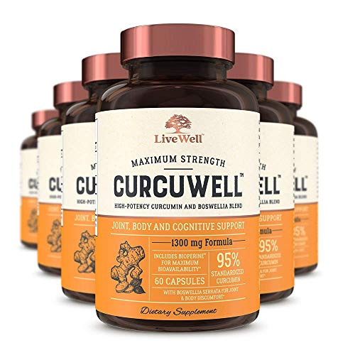CurcuWell - Maximum Strength Joint, Body and Cognitive Support | High-Potency Curcumin and Boswellia Blend (360 Capsules)