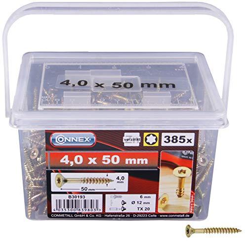 Connex Universalschrauben 4,0 x 50 mm - 385 Stück im Set - Senkkopf - TX Torx-Antrieb - Teilgewinde - Gelb verzinkt / Schrauben-Set / Schrauben-Eimer / B30193