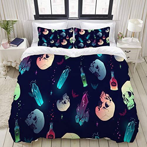 Mokale Full Size Duvet Cover,Vector Seamless Pattern Crystal Skull Bottles,Decorative 3 Piece Bedding Set with 2 Pillow Shams,Zipper Closure,Ultra Soft 80' 90'