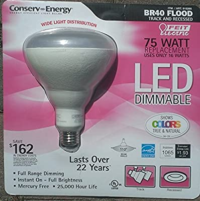 Feit Electric - BR40 Flood Light LED - 75 Watt Equivalent Replacement - Uses only 16 Watts - Dimmable