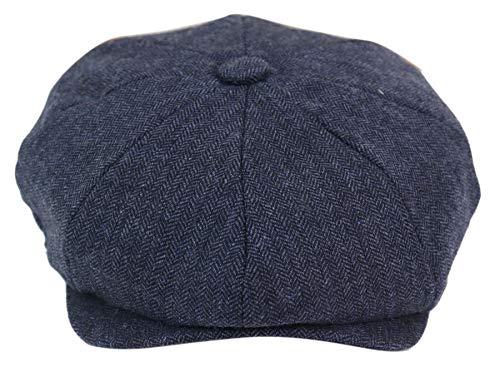 House Of Cavani Cappello 8 Spicchi Uomo Stile Newsboy Tweed a Scacchi Vintage Blinders Anni 20 - Blu Scuro-Albert S-M