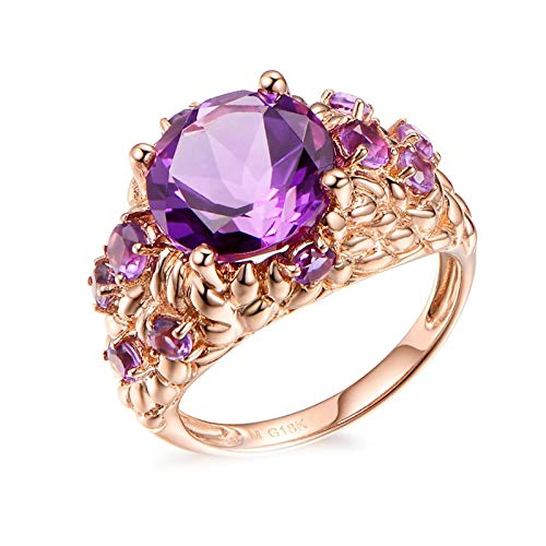 Cenliva Womens Engagement Rings, Wedding Rings for Couple18K Rose Gold 3.95ct Round Amethyst IF Ring Size T 1/2