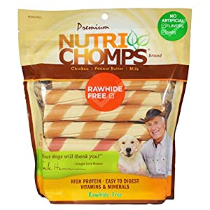 NutriChomps Dog Chews – 6-inch Twists, Easy to Digest, Long Lasting, Rawhide-Free Dog Treats, Healthy, 12 Count, Real Chicken, Peanut Butter and Milk Flavors