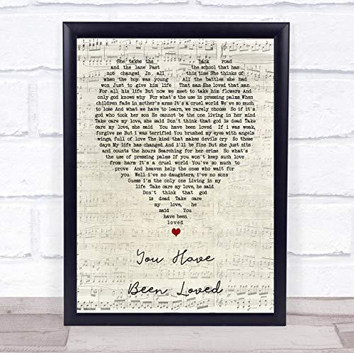 Impresión de huellas dactilares de George Michael You Have Been Loved Script Heart Song Lírico cita enmarcada Framed Brushed Gold Large
