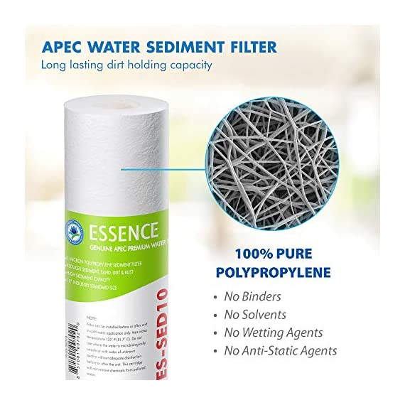 APEC Water Systems FILTER-SET-ES High Capacity Replacement Pre-Filter Set For Essence Series Reverse Osmosis Water… 3 APEC Water ESSENCE Series FILTER-SET-ES is for ROES-50, ROES-PH75, ROES-PHUV75, ROES-UV75-SS and ROES-UV75 Includes (1) sediment and (2) carbon block filters to protect and extend the life of the RO system 1st stage 5 micron Polypropylene sediment filter to remove dust, particles and rust