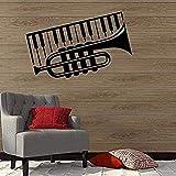 Calcomanía de pared removible PVC Art Wall Sticker 58X36Cm Pequeño Piano Diseño Musical Decoración de pared