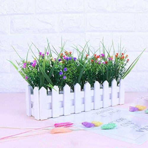 Flikool Gypsophila Künstlich mit Zaun Künstliche Blumen Topfpflanzen Falschung Bonsai Kunstblumen Faux Künstliche Pflanzen 30 * 7.5 * 20 cm- Mix