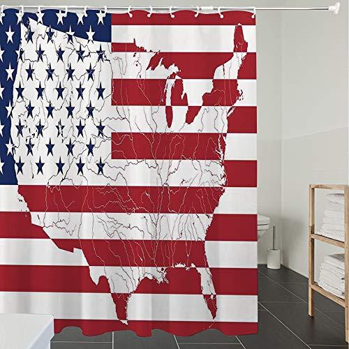 Duschvorhänge, Textil Bad Vorhang aus Polyester, Anti-Schimmel, Amerikanische Flagge Dekor, Amerika Kontinent geformte Flagge Martial Internation,Blickdicht, Wasserdicht, Waschbar, 180X200cm