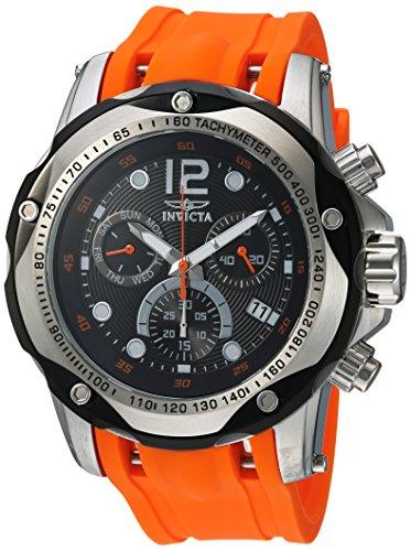 Invicta Speedway - Reloj de cuarzo para hombre (2.008in, acero inoxidable, cronógrafo, correa de poliuretano naranja, color naranja (modelo: 20072)