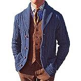 ferty Chaqueta de punto con cremallera para hombre, de jacquard, suelta, de un solo color, cálida, con capucha, chaqueta cortavientos, azul, S