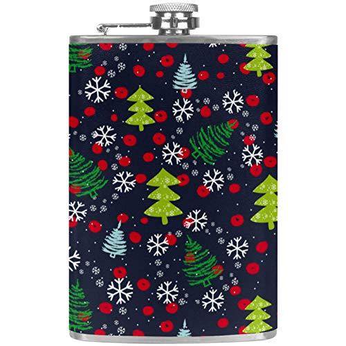 chuangxin Flacher Likörflasche mit Tannenbaum- und Schneeflocken-Muster, mit Trichter, für Alkohol, Whiskey, Wein