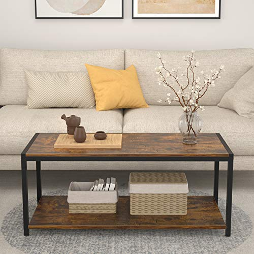"""Besiture Coffee Table, 43"""" Industrial Coffee Table for Living Room, 2-Tier Cocktail Table with Storage Shelf, Wood Look Accent Furniture with Metal Frame, Rustic Brown"""