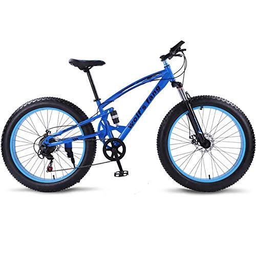 cuzona Bicicleta Bicicleta de montaña 7/21 Velocidad Bicicletas gordas 26 * 4 0 Bicicleta de Carretera Bicicleta de Nieve Full Shockingprllf Cuadro Macho -Blue_7speed_China