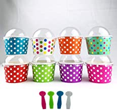 Worlds Paper Ice Cream Cups With Dome Lids No Hole And Plastic Spoons,Polka Dot 8oz Mix 25 Set