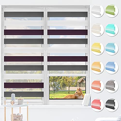 HOMEDEMO Doppelrollo Klemmfix ohne Bohren, (Weiss-Anthrazit-Aubergine, 90x150cm) Duo Rollo Klemmrollo lichtdurchlässig, Fensterrollo Sichtschutz