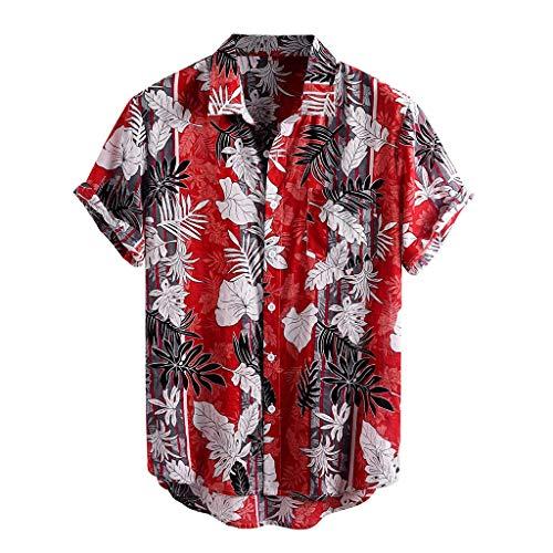 Yowablo Chemises Hommes Imprimé Col Rabattu Manches Courtes Décontracté (L,11Rouge)