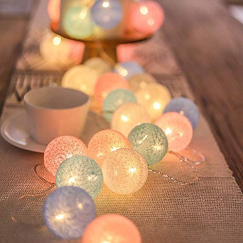 20 LED Cotton Ball Garland String Lights Christmas Fairy Lighting Strings for Outdoor Holiday Wedding Xmas Party Home Decoration (Multicolor)