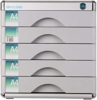 Nologo SH-CHEN Desktop Drawer Sorter Lockable Aluminum Alloy Data Office Storage Drawer Confidentiality with Lock Office Desktop Drawer Organizer (Design : 5 Layers) File Cabinets