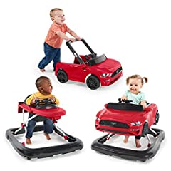 """Three modes of play allow this lifelike Ford Mustang walker to grow with baby Two can play at once with the normal walker mode and push behind mode Safety enhanced with rubber feet that """"brake"""" """"Steer"""" Baby into imaginative play with removable steeri..."""